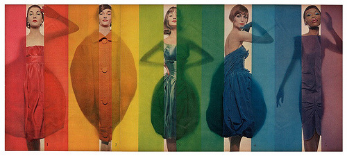 "'Rage for color', photo by Erwin Blumenfeld, October 15, 1958  ""Model in green is Dolores Hawkins, in blue is Anne St. Marie and purple is Bani Yevelston. Bani Yevelston was the first black model to participate in an American fashion show (1957). Her appearance in Minneapolis made a big splash and was the subject of a number of press articles. The New York Times reported the event and LIFE published a series of photographs by Blumenfeld illustrating the dresses and models in the show.""From the book ""Erwin Blumenfeld"" by Michael Métayer. Via Skorver1"