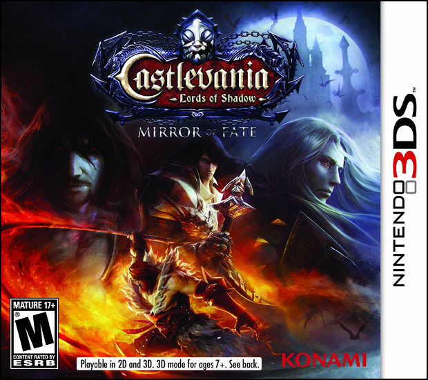 Castlevania: Mirror of Fate's North American box. I'm surprised Konami didn't stick with the same illustration that was revealed for Europe's box — this artwork looks a bit more generic than what everyone across the Atlantic will get. It actually makes you miss the anime-ish covers for the first two DS games (Order of Ecclesia probably has the best packaging art for the portable Castlevania series since Aria of Sorrow). PREORDER  Castlevania: Mirror of Fate, other upcoming games