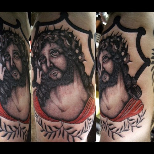 Thanks so much to Kane, a loyal customer and a good guy! #alboytattoo #jesustattoo #tattoo #traditionaltattoo #londontattoo