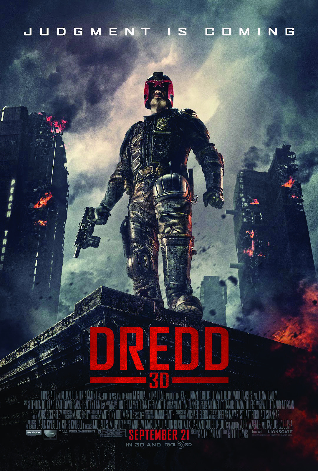 "Title: DREDD 3D (2012) Synopsis: He's judge, he's jury, he's executioner! Judge Dredd takes rookie cop Anderson under his wing as he attempts to find the source of a new drug being manufactured in MegaCity One. But what he assumes will be a routine arrest will turn out to be a fight for his and Anderson's lives… Why you should like it: Unlike the Sylvester Stallone ""Judge Dredd"" film, this movie is all about action and virtually nothing else. Karl Urban plays the moody judge in this adaptation of the popular Brit comic, and true to form, he never takes his visor off during the film. Great special effects and thrilling action scenes will keep you at the edge of your seat. Availability: DVD, Blu-Ray, Digital Download."