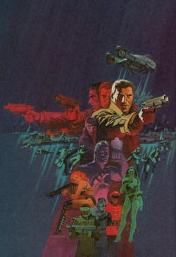 Jim Steranko's fantastic cover art for the Marvel Comics adaptation of Blade Runner (1982).  Some people are suggesting that the triple image of Deckard is a clue that he, too, is a replicant. Um, no.