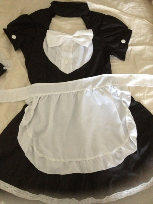 "ero-hime:  GIVEAWAY TIME! Hey Guys, last week I got this maid costume and I don't really like the way it fits so instead of wrestling with sending it back I decided to give it away as a thanks for reaching over 1400 followers recently. Also this will be my first giveaway so I hope it goes well! RULES: Reblog this post a maximum of 5 times and please tag each post with ""erohimegiveaway"" so I can find it later, (I'm counting the entries individually by going to each blog and looking for these posts by the tag), likes will not count you don't have to be following me but if you do follow me you will get an extra two entries! Do not delete this text No giveaway blogs Must be over 18 or have parental consent Must have ask box open so I can message you if you win Must be willing to give me your address, etc. (I will pay for international shipping) PRIZES: Complete Maid cosplay outfit includes: dress, apron, headband, and wrist cuffs (measurements: Length: 80cm, Bust: 87-91cm, Waist: up to 72cm)  A random assortment of kawaii stickers and trinkets, as well as some yummy japanese snacks and stuff Giveaway will end on May 19, at 6 pm central, I will choose the winner using random.org, the winner will have 48 hours to respond, if they don't I will choose a new winner, if you have any questions please feel free to ask. GOOD LUCK!"
