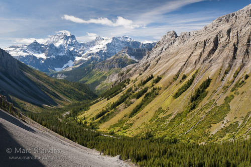 View From North Kananaskis Pass on Flickr.Via Flickr: Day 3 of our backpacking trip takes us on a rough trail from Turbine Canyon in Kananaskis to Beatty Lake in BC. North Kananaskis Pass is about 3 kilometers from Turbine Canyon where we descend about 600m to the valley bottom and LeRoy Creek.  The snow-clad Royal Group in the distance calls for a closer look…