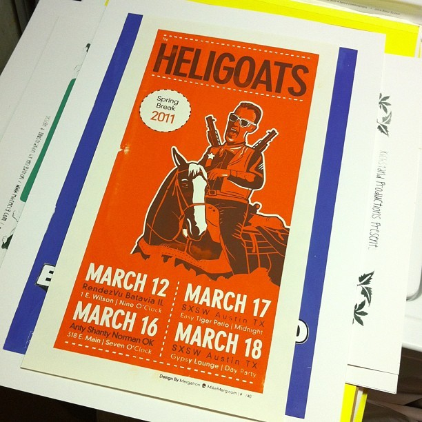 Another print from the archives — Fun times w/ the @Heligoats at #SXSW 2011… #Art #Design #Gigposter #Heligoats