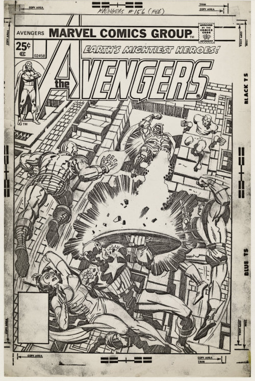 Full size photocopy of Jack Kirby's pencil art for the cover to Marvel's Avengers 156 published date February 1977.