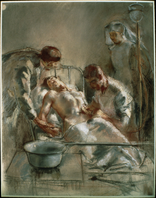 """femme-de-lettres:  Large (Wikimedia) This pastel drawing is Henry Tonks' Saline Infusion—An Incident in the British Red Cross Hospital, Arc-en-Barrois, 1915. As the Imperial War Museum writes, """"During the war [Tonks] served as a RAMC doctor and worked with Sir Harold Gillies, one of the pioneers of plastic surgery. Tonks drew studies of facial injuries before and after surgery, requiring accuracy, attention to detail and emotional understanding."""" Here the blues, tans, and whites of his reduced palette imply a cleanliness, while the postures of the simplified, blocky figures convey sympathy and—in the case of the patient—pain. There is something simultaneously gut-wrenching and surprisingly dispassionate to the work: vivid and painful, yes, but somehow a little bit distant. Perhaps that's to be expected from a man whose job it was to record war injuries in just such a manner as he records this surgery."""