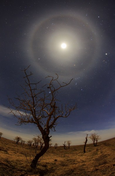 Two Halos Around the Moon by Amirreza Kamkar Halos around the sun or moon happen when high, thin cirrus clouds are drifting high above your head. Tiny ice crystals in Earth's atmosphere cause the halos. They do this by refracting and reflecting the light. Lunar halos are signs that storms are nearby. — Earthsky