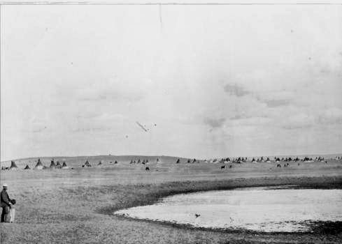 "Big Bear's camp at Maple Creek, Saskatchewan, 1883. ""In the 1870s, the newly created Canadian government began to investigate signing treaties with the Indigenous peoples of the Great Plains, and sent gifts to encourage friendship. While some leaders accepted the gifts, Big Bear was not interested, declaring ""when we set a fox-trap we scatter pieces of meat all round, but when the fox gets into the trap we knock him on the head; We want no bait; let your chiefs come like men and talk to us."" When representatives of the Canadian government came to negotiate a series of numbered treaties for the return of land to the native peoples, Big Bear, one of the chief negotiators during Treaty 6, refused to sign, believing that the treaty was unfair and biased towards Canadian settlers. He campaigned against the Canadian government, preaching to other Native bands that the treaties were unfair.""  more info here"