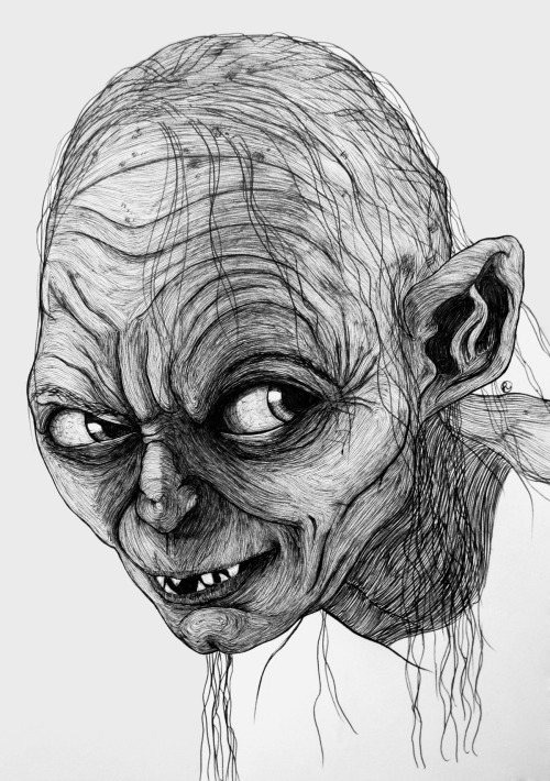 hoooneyyyimhooome:  Gollum 2, 2013, pen and ink