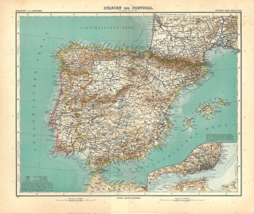 Antique Map Spain and Portugal  1914 Iberian Peninsula at CarambasVintage http://etsy.me/13Yq5k9
