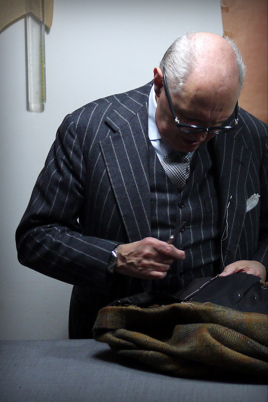 Antonio Liverano putting together a special tweed jacket