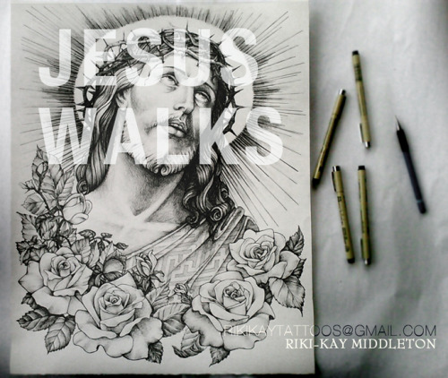 MOST RECENT ILLUSTRATION. Jesus Walks by Riki-Kay Middleton 18 by 20 on Arches Paper done in Pen
