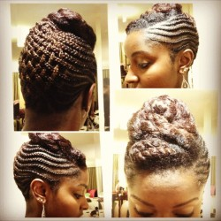 Tonight's awards gala hair, flat twists pinned up to compliment the basket weave updo. #naturalhair #braids #protectivestyling