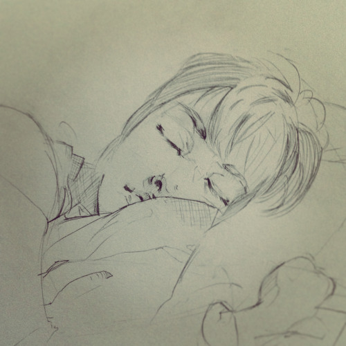 Another drawing from my sketchbook - my friend after she dozed off.  I've gotta find a better way to draw hair.