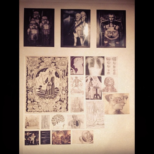 Wall progress. More vintage #medical #illustrations to come, plus more #giger along the top. Then when money allows, more #madametalbot posters! #victorian #art #decor