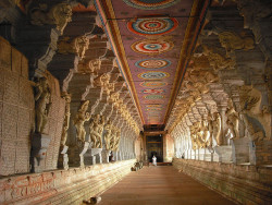 visitheworld:  Inside the Ramanathaswamy Temple in Rameswaram, India (by NancyJTripp).