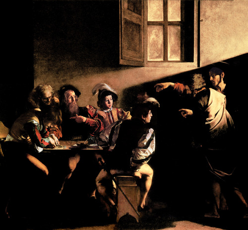 cavetocanvas:  Caravaggio, Calling of St. Matthew, 1600 Things to think about when studying: How does Caravaggio use light to help the narrative? Where is the scene set? Is it similar or different than other religious paintings during this time? What types of figures did Caravaggio like to include in this paintings?