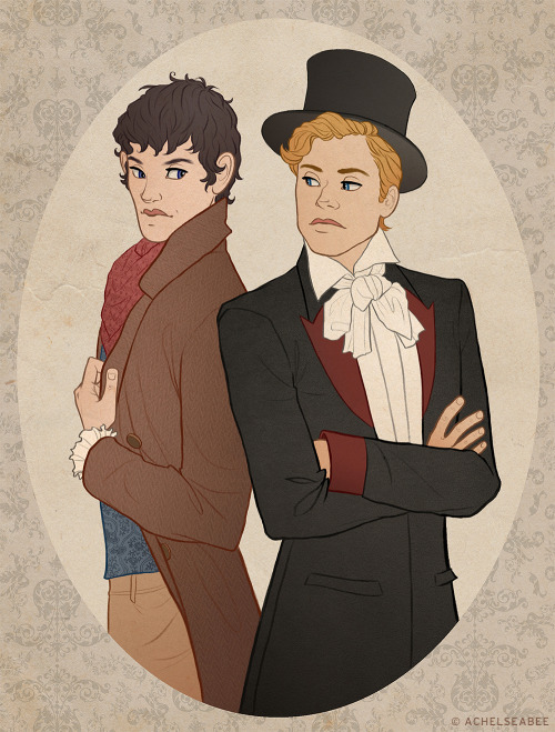achelseabee:   MERLIN & ARTHUR | VICTORIAN AU  Having just written and published his first successful novel, Merlin Emrys is a newcomer to the world of 19th century London socialites. Some enthusiastically welcome his creativity and artistry to the elaborate dinners and parties of the elite; others are not so accepting. Arthur Pendragon, heir to the old fortune of Camelot Railway & Co., does not appreciate Merlin's sudden appearance, his decidedly loose morals, or his quick-witted tongue. That is, until he unknowingly reads (and adores) Merlin's novel. When he discovers the pen name on the cover of his new favorite book belongs to none other than Merlin, Arthur decides to take another look at the vibrant young man whose words are even more shocking than his clothes. [desktop wallpaper | society6 prints]