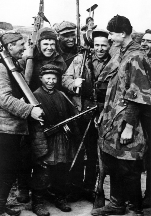 demons:  Soviet partisans after a successful attack on German units, 1943
