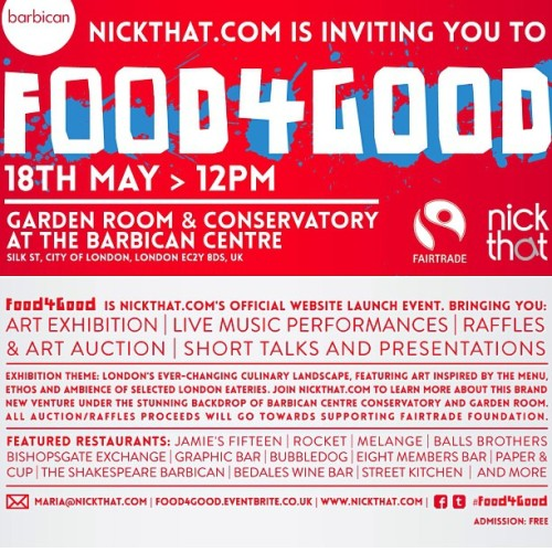 We have been invited to the NickThat.com #Food4Good event on the 18th May.  We will have access to the event 30 minutes before guests and will also be treated to complimentary champagne. There will also be a competition exclusively for igers to win 2 tickets The Great Gatsby in 3D at the Barbican's brand new Cinemas! Go to the meetup page www.meetup.com/Instagram/London-GB/942832/ for all the details! Hope you can come along!