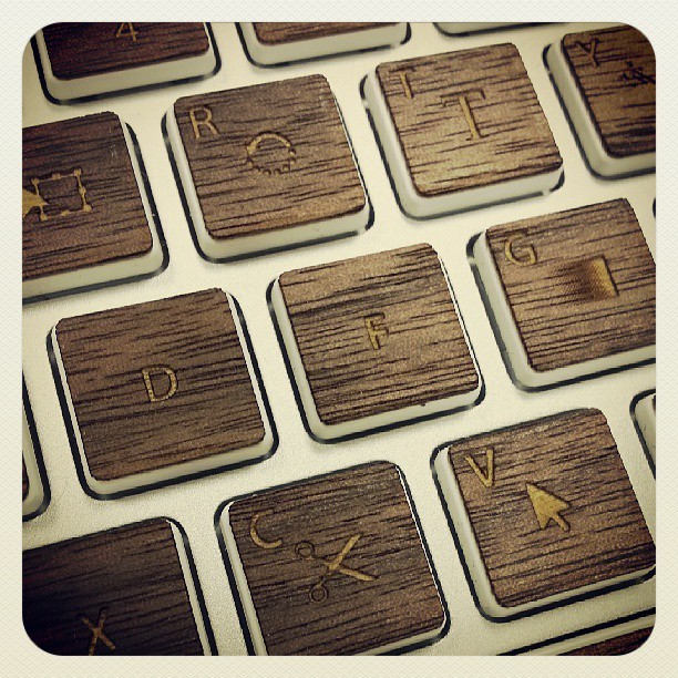 Newest product in development: Illustrator and Photoshop wood shortcut keys for your Apple keyboard.