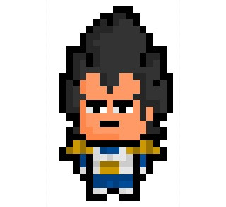 """Vegeta, Prince of the Saiyans and major character in the internationally famous """"Dragonball"""" manga / anime saga, now given his very own tall-haired 17 x 29 pixel resolution.  Requested Anonymously."""