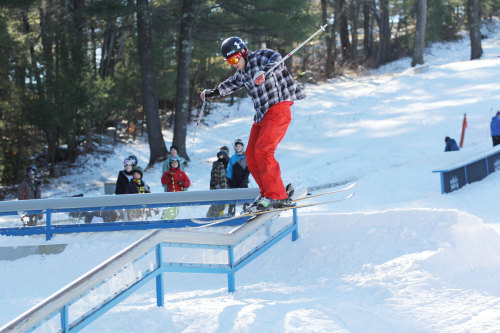 A skier enjoying the day and the rails here at Nashoba! on Dec. 15, 2012