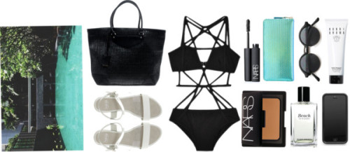 what's in my beach bag by s-kull featuring flat sandals