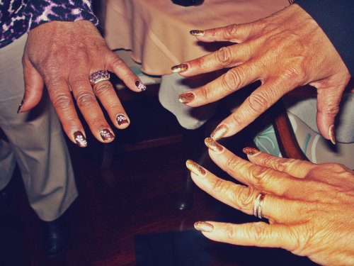 i love seeing older women rocking nail art. these ladies came prepared to show off and show out.