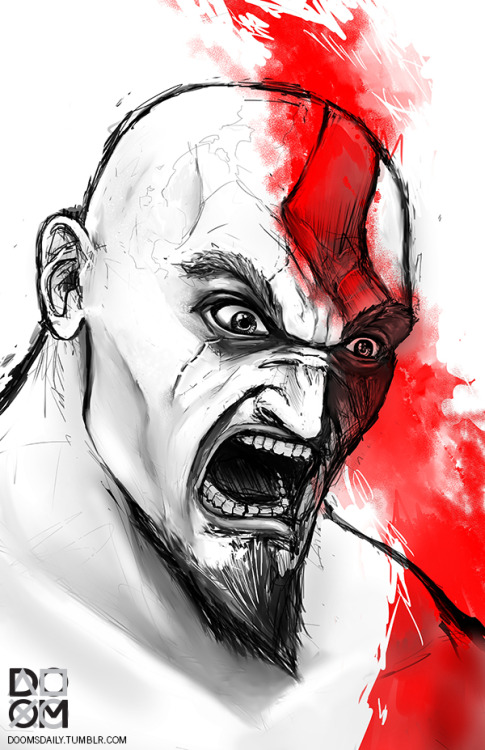 Kratos is always mad. Drawing done in Manga Studio 5.