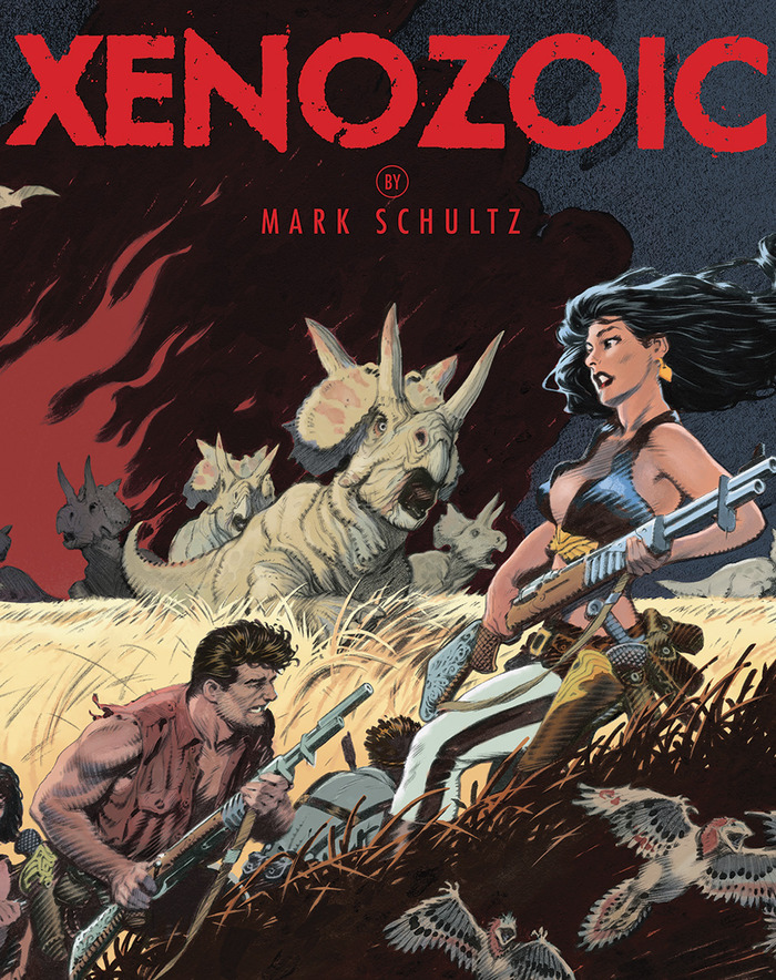questerslog:  Mark Scultiz' Xenozoic Tales Hardcover Compilation! [Fully Funded Kickstarter w/29 Days to Go!] I've been a huge Schultz fan since fortuitously stumbling upon Xenozoic Tales (also known as Cadillacs and Dinosaurs) in the mid-90's. His work is unbelievably crafted, and believe me, old-school comic fans were yearning for good quality books and stories back then! Of course, I fell for Hannah Dundee hard, and I can't tell you how many times I've purchased the series in its several formats! Well, might as well chalk up another as Mark Schultz and Flesk Publications have an awesome Kickstarter campaign up and running, and of course, I'm happy to oblige 'em an extra backer! Pledged at the Xenozoic HC tier! More on the HC below:  352 pages, 8.5 x 11 inches, comes in a paperback edition and a hardcover with jacket. This book collects all of the Xenozoic stories written and drawn by Mark. In addition, he has produced a new cover for this fresh printing. Since we have had requests for a hardcover edition of this collection, we've decided to put this up on Kickstarter, along with Carbon. If we reach our goal, we will produce a very small run of only 500 hardcover copies with jacket. This edition will not be available in the stores and will serve as a Flesk exclusive Publisher Edition.  Feel free to check oall of this out, plus his Carbon Artbook, Prints, and upcoming Stretch Goals (!) in the Kickstarter link below. Love this stuff, just look at that beaut!