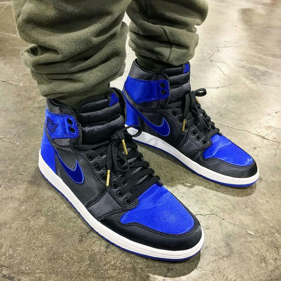 "outshinenyc - Jordan Brand's Senior Design Director Gemo Wong showcased an exclusive pair of the ""Satin Royal"" Air Jordan 1s at the Agenda..."