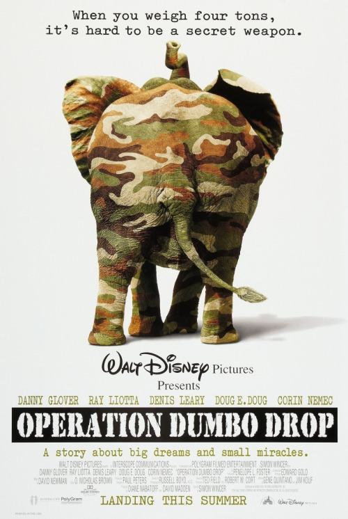 Operation Dumbo Drop (1995) Pros: There is little to complain about the technical aspects of this Disney feature, in that it looks very good (thanks to the combination of the Thai filming locations and the work of director and cinematographer Simon Wincer and Russell Boyd. The use of some stereotypical Vietnam War tropes (e.g. the 'gone native' GI, the dense and threatening Vietnamese marketplace, the by the book American and the scheming 'fixer' REMF) is also a sign of the technical competency. There is also much to be said in favour of the performances by Ray Liotta, Danny Glover and Dennis Leary. Glover is probably the best, echoing (without the expletives or drug-soaked characterisation produced by Willem Dafoe as Sergeant Elias in 'Platoon'). Leary reminds me a little of Don Rickles in 'Kelly's Heroes' and Liotta is solid as the more conventional Green Beret at odds with his colleagues and the mission. The central character of the film is the elephant Bo-Tat, and it is easily the most entertaining film pachyderm since Dumbo. Of course there is not much competition… Cons: Producing a family friendly Disney film set in the Vietnam War seems bizarre if not historically negligent. Yes, there is violence and yes, there are moments of conflict. However unlike the searing realism of 'Hamburger Hill' or 'We Were Warriors Once' and plenty of similar movies, 'Operation Dumbo Drop' seems like a fable set in a sanitised Vietnam War theme park. Disney had previously shown that comedies set in Vietnam can work (i.e. 'Good Morning Vietnam' starring Robin Williams and produced by Disney's Touchstone team), and that was because underlying the silliness there was some historical truth and realism. Sad to say 'Operation Dumbo Drop' is like some whitewashed figment of someone who wanted to create a kid's movie with nasty men wearing NVA uniforms. Like many a Disney film, the biggest strength of the movie (its efficient and seamless sentimentality) is its biggest weakness. You know that when you watch this movie everything will end up fine, and all danger is cartoonish. It's surprisingly shallow emotionally, and when contrasted with the Pixar animated films it's problematic that depth of character is more often found in the likes of Wall-E or Ratatouille than in the personae of 'Operation Dumbo Drop'. Final Rating:  2 out of 5 Bill Collins