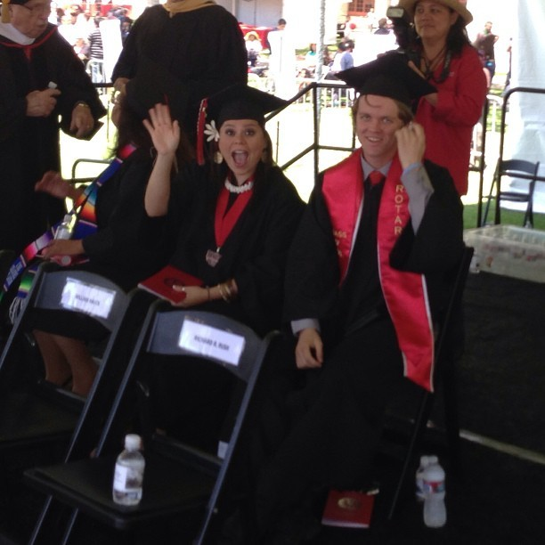 Tiana Schisler and Dave Ashley on stage during #cigrad. #csuci #graduation