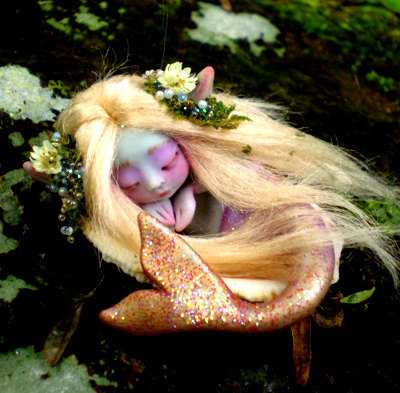 Tiny Mermaid Fairy in a Shell by scarletsbones  *Made to Order