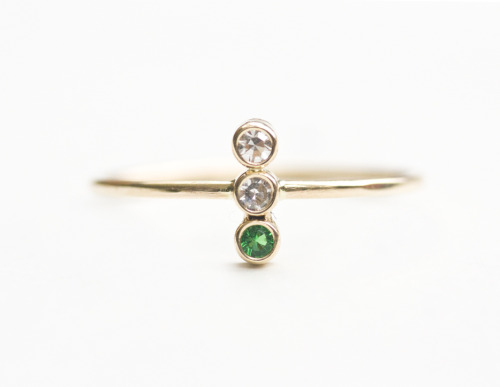 MOCIUN custom  White Diamonds and Emeralds set in 14K yellow gold.