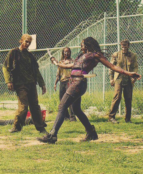 the-walking-dead-art:  Michonne in action