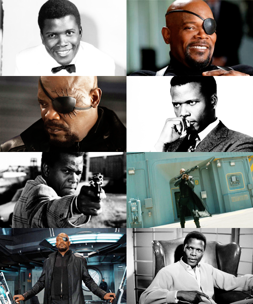 boombangbing:  Recasting the Avengers as a classic movie → Sidney Poitier as Nick Fury (This recast inhabits an alternate universe where all the actors are the right ages at the same time.) Naturally.