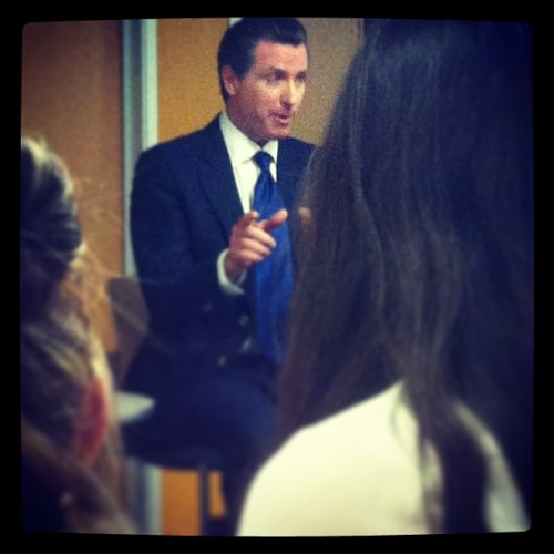 Watching Gavin newsom speak with @vonmonstar on campus. #SFSU