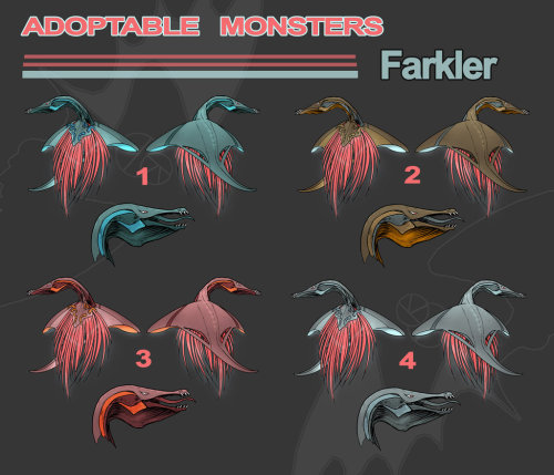Farkler Adoptables (OPEN) by *neilak20 Farklers are terrible monsters. These mysterious beasts are known to swim, fly, breathe through their dangling lung bits and eat whatever unfortunate prey happens across their path. They're active hunters and greatly feared. 2, 3 and 4 are currently available to be adopted for $20 each paid through Paypal! I don't currently have a points thing set up so I don't think I can accept points at this time. Send me a note about which one you'd wish to buy! 1: Adopted by 2: Available3: Available4: AvailableRules -Paypal accepted.-Farklers are a closed species. If you'd like a custom one, you may order one for $25, send a note with what color scheme you'd prefer and any other adjustments. -Please do not claim the species as your own.-Feel free to use them in your original illustrations and writing! If the work is published I'd love to have a credit linking back to me, just for the species design, not your character.-Farklers may be assigned any gender you prefer.-No x-rated use please.  OH MY GOD. PLEASE no X-Rated stuff. *vomits* -You may make small alterations or adjustments to your liking including no longer calling them 'Farklers' if that is your desire! -You may resell for the same price paid or less but please do not resell to make profit.