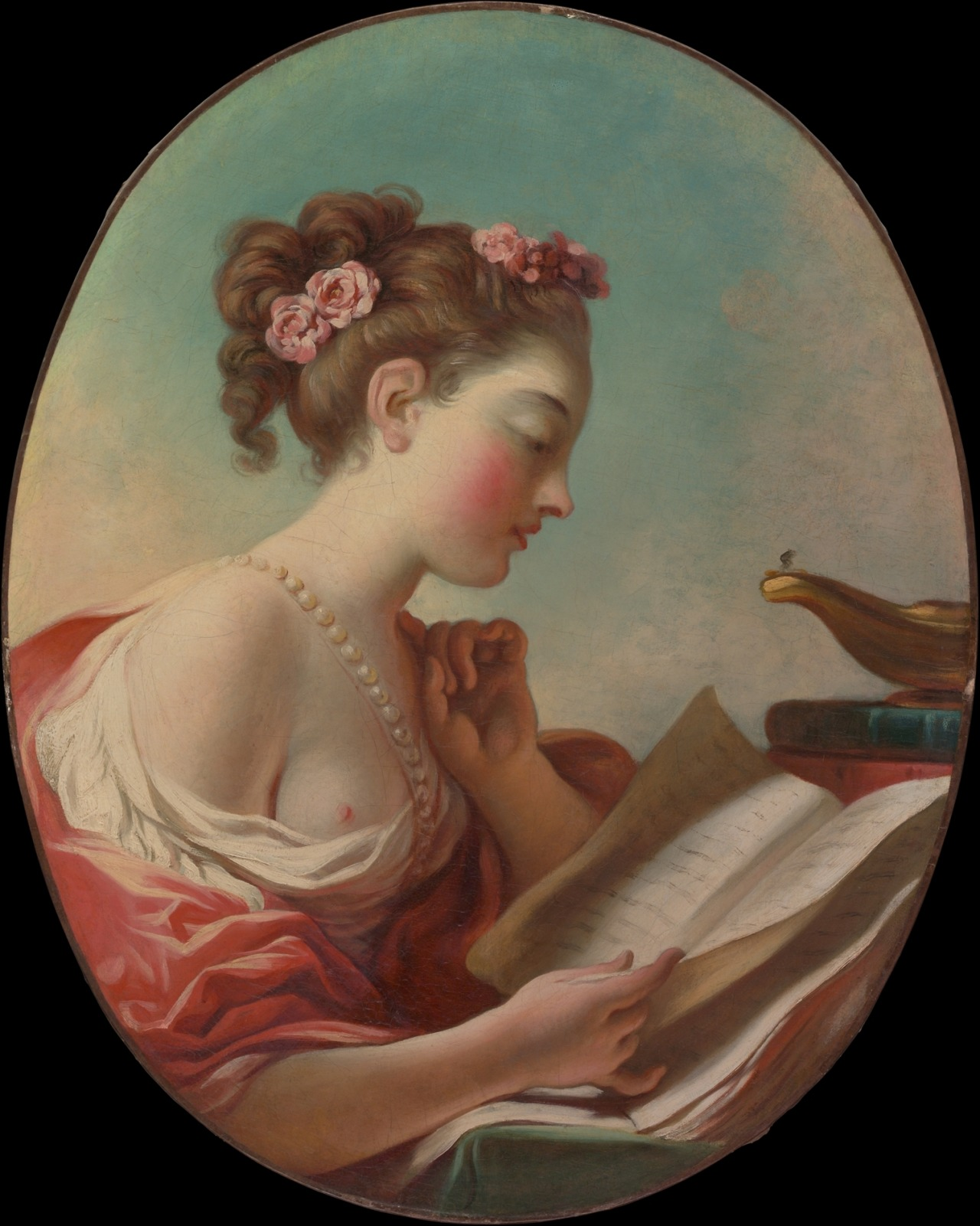 Young woman reading (1770), artwork by french painter : Jean Honoré Fragonard  (1732–1806).