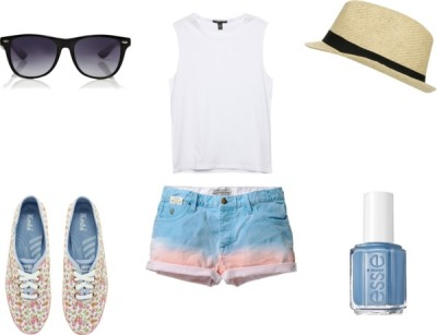 Summer Outfit by karolinam-928 featuring white topsWhite top / Scotch & Soda , $115 / Keds flower print shoes / Wet Seal straw fedora hat / Warehouse , $24 / Essie nail polish, $12