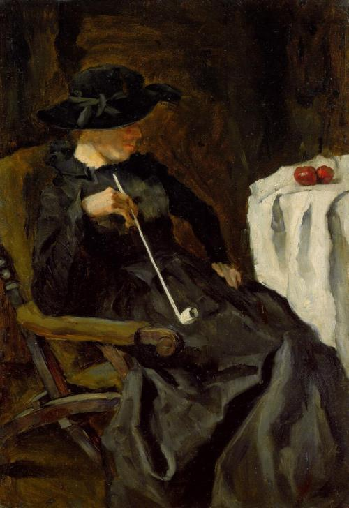 Carl Schuch - Dame mit Tonpfeife in einem Lehnstuhl/Lady with a clay pipe in an armchair -  oil on cardboard, 47 × 32.8 cm (18.5 × 12.9 in)