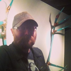 Selfie for scale. #antlers #glass grant Garmezy glass (at j fergeson gallery)