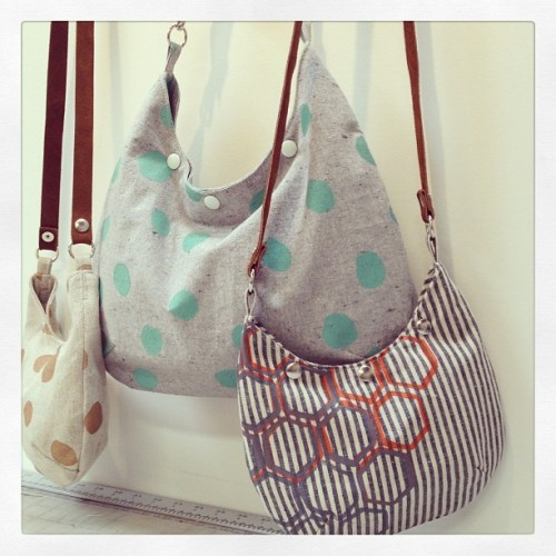 Cassidy bag—personally totally smitten with the aqua polka dots!