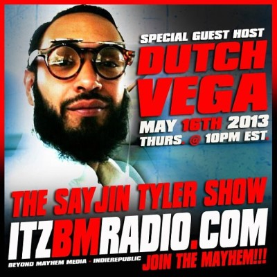 I'm gonna be live on The Sayjin Tyler Show on www.itzbmradio.com in 15 minutes @ 10pm est. time as a Co-Host! Tune in and show some support and have some laughs with us!! Tell a friend to tell a friend! We about to go live!!