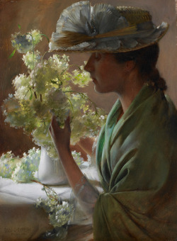 23silence:  Charles Courtney Curran (1861-1942) - Lady with a Bouquet (Snowballs)