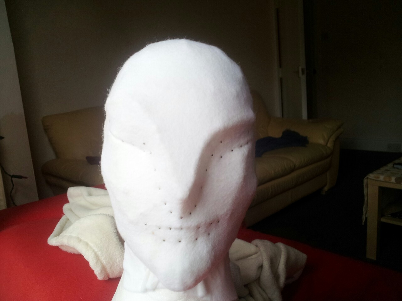 The first mask progresses; now it has a nice felt skin.