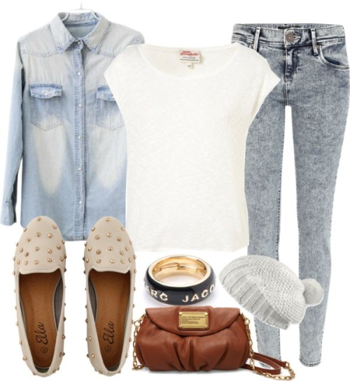 Untitled #988 by ieleanorcalderstyle featuring a marc jacobDenim shirt / Annie Greenabelle cotton t shirt, $40 / River Island acid wash jeans, $56 / Loafer shoes, $37 / Marc by Marc Jacobs leather handbag, $330 / Marc by Marc Jacobs marc jacob / Pistil beanie hat