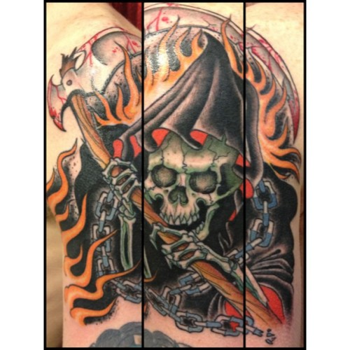 #GrimReaper for our part time shop kid, Ian. #reapertatt  (at Daredevil Tattoo NYC)